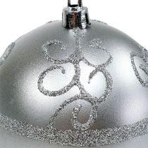 Julekule sølv Ø8cm plast 1p
