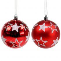 Julekuler med stjerner i rødt 2stk Ø8cm