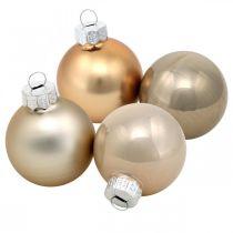 Tredekorasjonsblanding, julekuler, minitrevedheng gylne / brune / perlemor / beige H4,5cm Ø4cm ekte glass 24stk.
