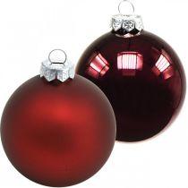 Julekuler, juletrepynt, glassballer vinrød H8,5cm Ø7,5cm ekte glass 12stk