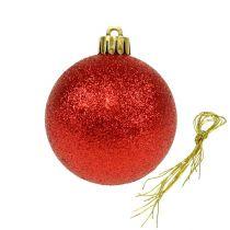 Julekule plast rød 6cm 10stk