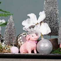 Julekule plast sølv 6cm 10stk
