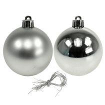 Julekule plast Ø6cm sølvmiks 12stk