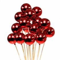 Julekule på pinne Ø6cm rød 18stk