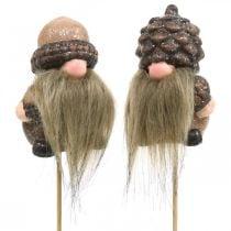 Gnome keramiske kjegler og eikenøtter dekorasjonsplugg 8 / 8,5 cm 4 stk