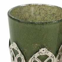 Lykteglass metall dekor grønn lilla Ø5,5cm H5,5cm 4stk