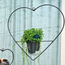 Vindlys hjertemetall 28cm telysholder for hengende glass 9cm