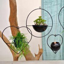 Lanterne hjertemetall 38cm telysholder for oppheng med glass