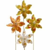 Dekorative vindmøller med høstbladmotiv oransje / hvit / grønn L27,5 Ø22cm 12stk