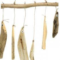 Maritim fiskedekorasjon, drivved vindklokker, tredekor L50cm W30cm