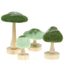 Dekorativ soppved / filtgrønn 8cm - 15cm 4stk