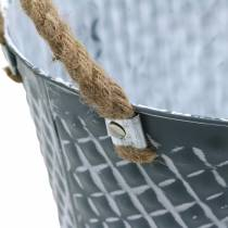 Sinkskål diamant med tauhåndtak blågrå Ø25cm H14cm