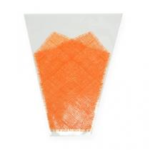 Blomstersekk jutemønster oransje L40cm B12-30 50p