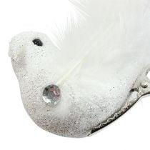 Dekorativ fugl på klips med glitterhvit 14cm 2stk