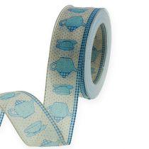 Dekorativt bånd med wire blå 40mm 20m