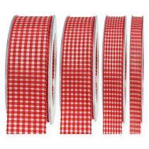 Gavebånd med kant 20m rød rutete