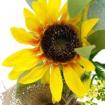 Kunstig solsikke, silkeblomst, sommerdekorasjon, solsikke i jutesekk