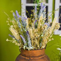 Kunstig lavendelbunke, silkeblomster, feltbukett med lavendel med hveteører og eng