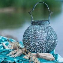 Vindvindlys i metall, lykt, lysestake antikt utseende Ø15cm H22cm