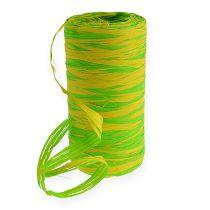 Raffia bånd tofarget grønn-gul 200m