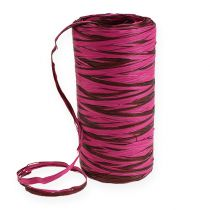 Raffia bånd tofarget rosa-brun 200m