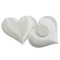 Scatter dekorasjon stoff hjerter hvite 28x32mm 100p