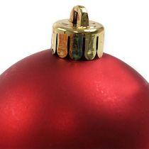 Julekule plast rød Ø6cm 12stk