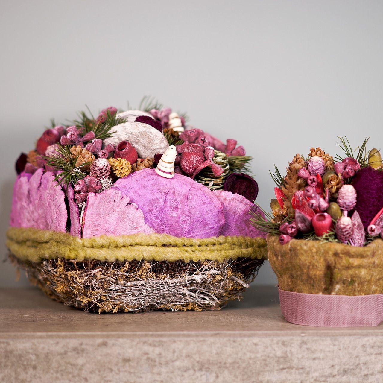 Plantepute laget av vinstokker og mose 20cm x 20cm