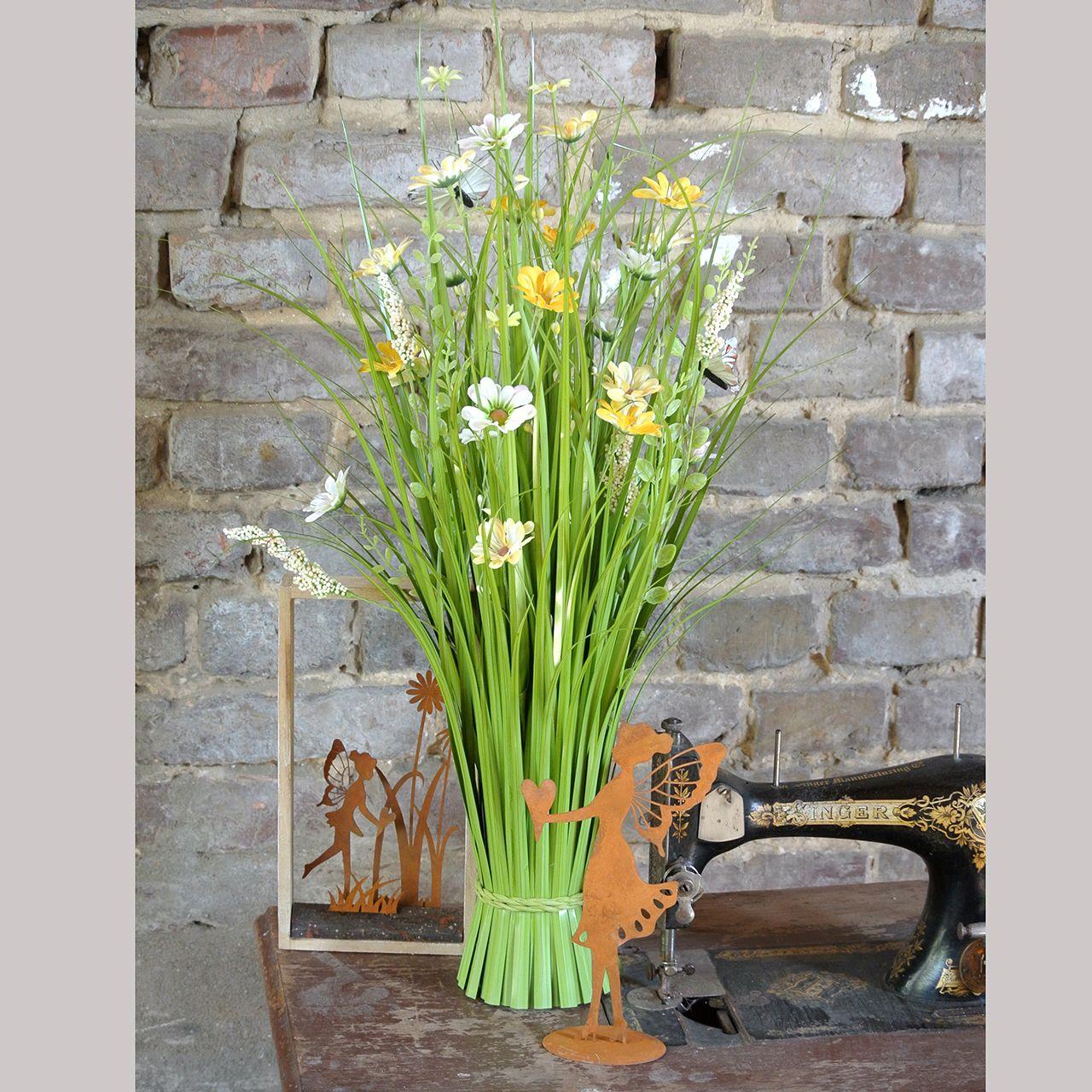 Grasbunt med blomster og sommerfugler oransje 70cm