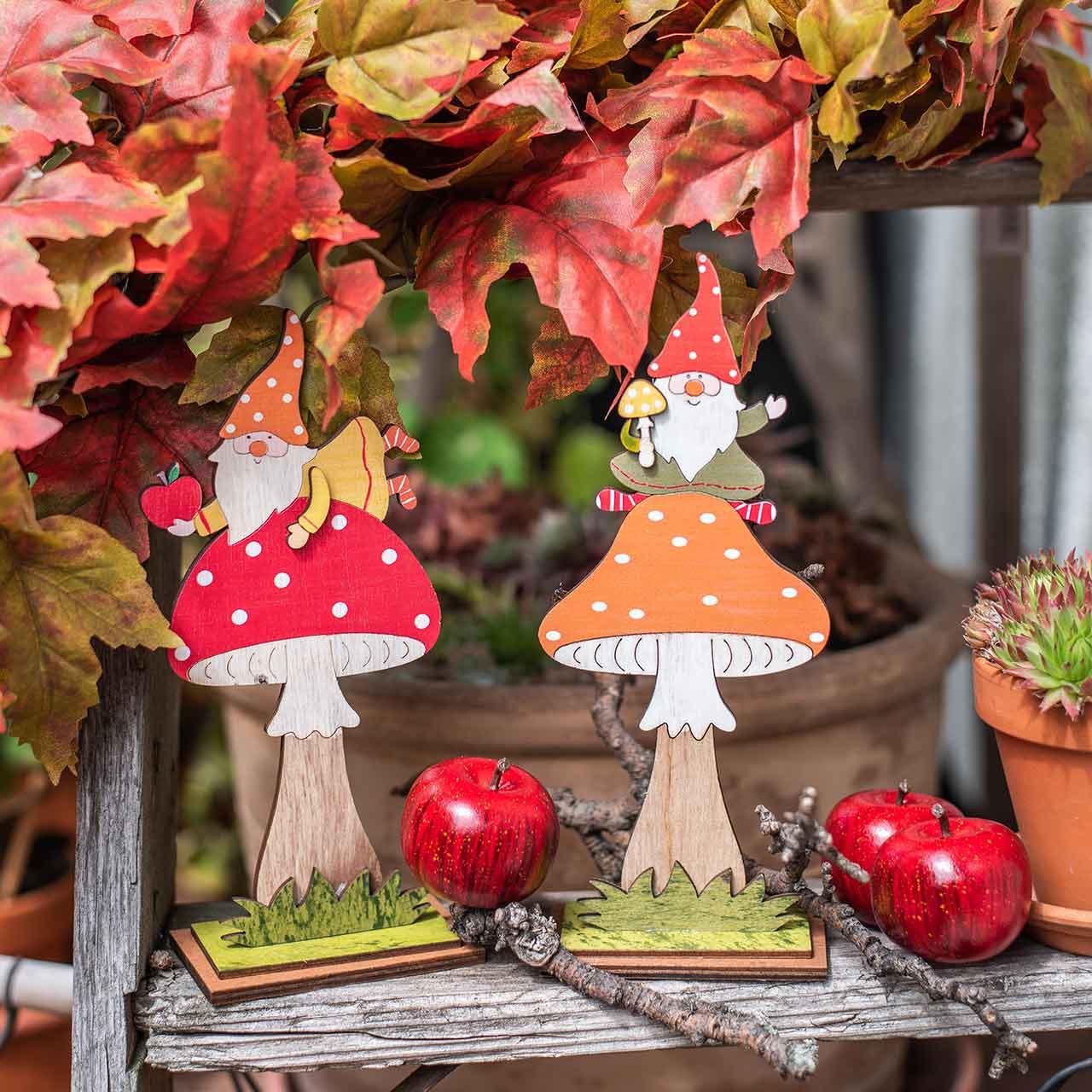 Fluesopp til høst, trepynt, gnome på sopp oransje / rød H21 / 19,5cm 4stk