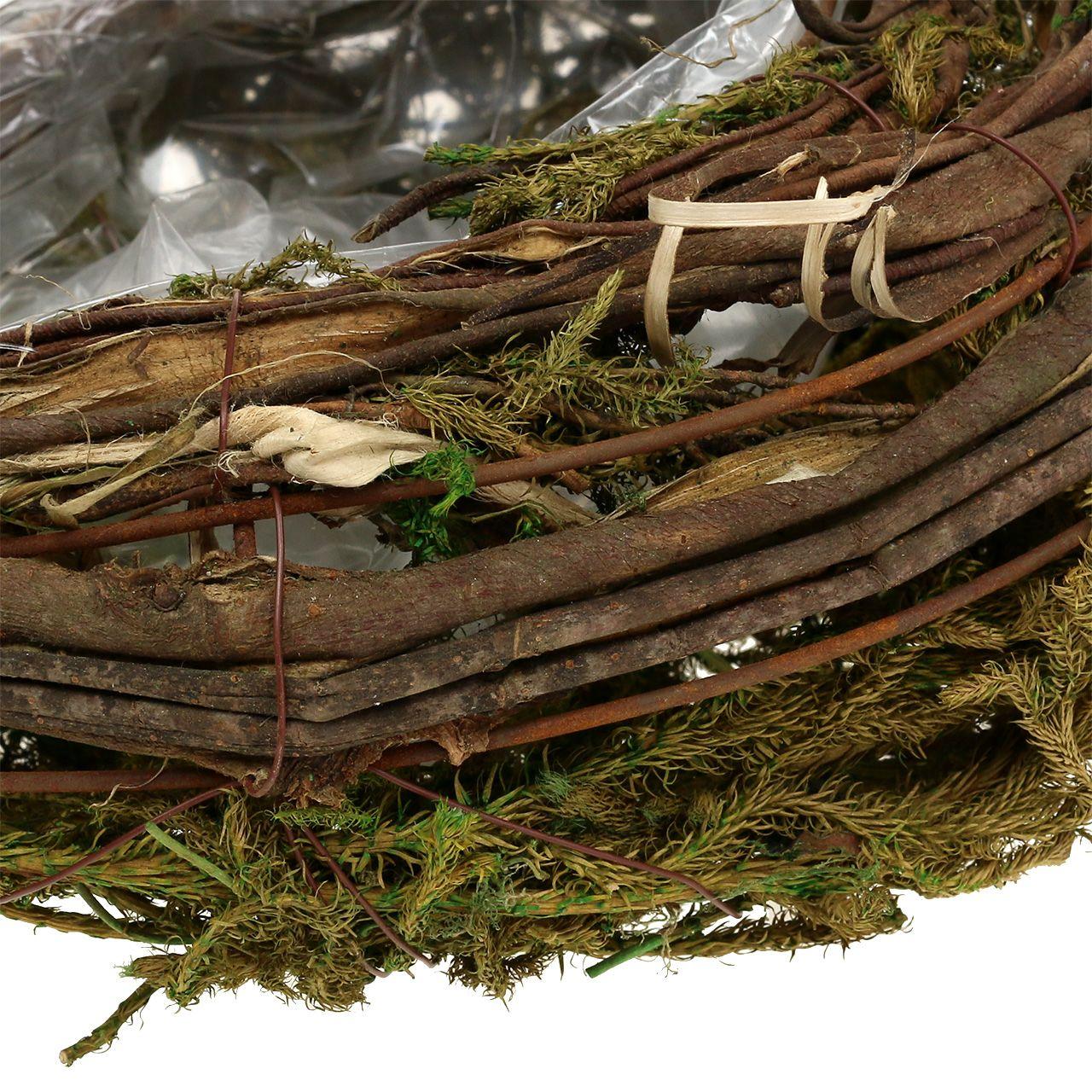 Planter laget av vinstokker og mose 35cm x 20cm