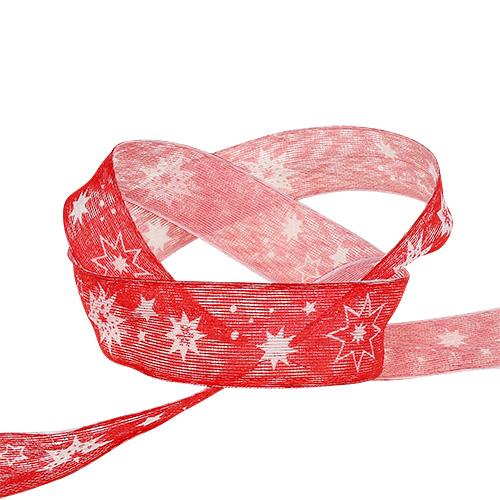 Julebånd rødt med stjernemønster 25mm 20m
