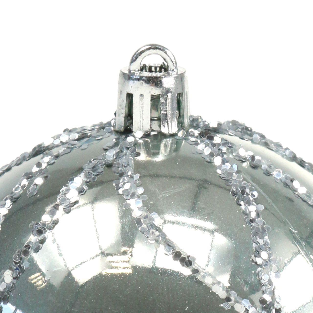 Julekule plast sølv Ø8cm 2stk
