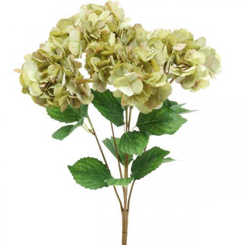 Hortensia bukett kunstig grønn, brun 5 blomster 48cm