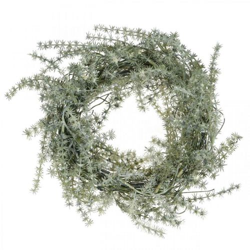 Kunstig aspargeskrans hvit, grå Dekorativ aspargeskrans Ø20cm