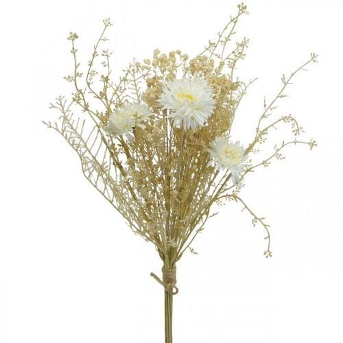 Kunstig bukett asters og gypsophila beige, hvit 43cm