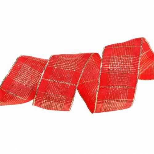 Sjekk bånd med trådkant rød, gull 40mm L20m