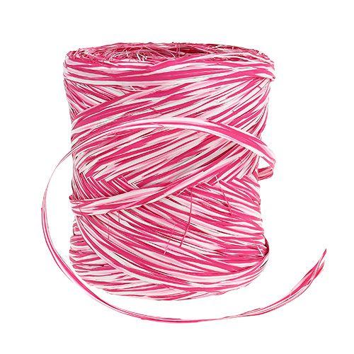 Bast som gavebånd rosa-hvitt 200m