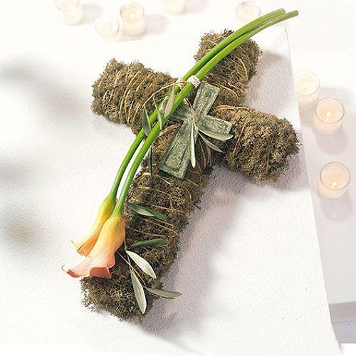 Blomster skum kryss stor grønn 53cm 2 stk gravpynt