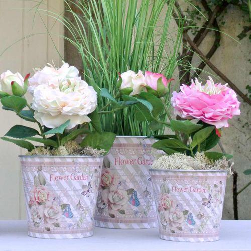 Blomsterpotte metallroser sommerdekorasjon planter Ø15cm H15,5cm
