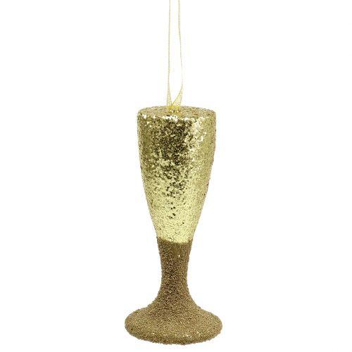 Hanger champagneglass lysgullglitter 15cm nyttårsaften og jul