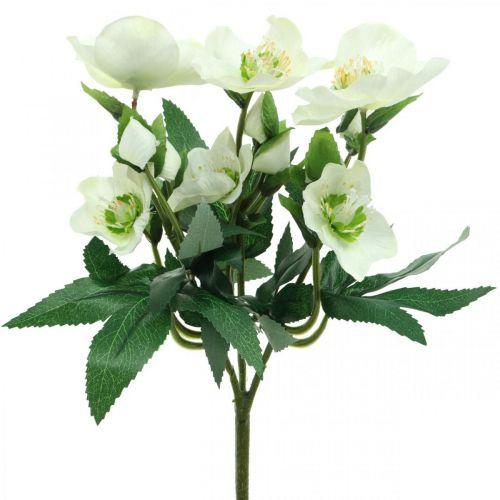 Juleroser hvite dekorative bukett kunstige blomster Julearrangement 27cm