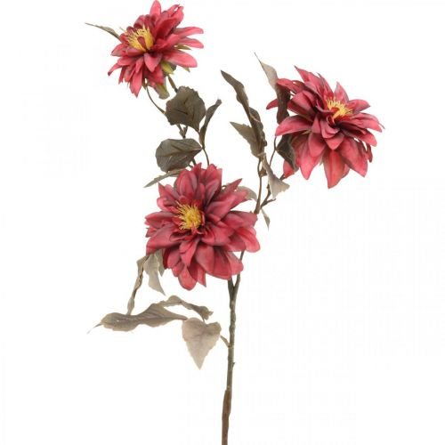 Kunstig blomst dahlia rød, silkeblomst høst 72cm Ø9 / 11cm
