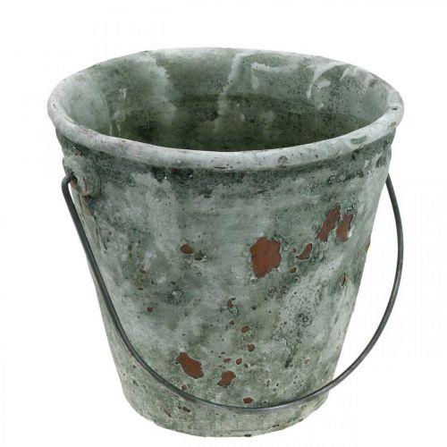 Plantebøtte, hagedekorasjon, keramisk bøtte, antikk optisk planter Ø16cm H13,5cm