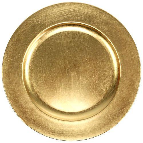 Dekorativ plate gull Ø28cm