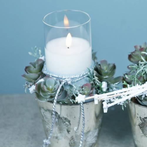 Dekorativ lykt LED-lys i et glass laget av ekte voks Ø10cm H10cm
