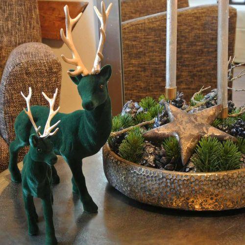 Hjort stående deco figur grønt gull borddekorasjon Advent 27cm