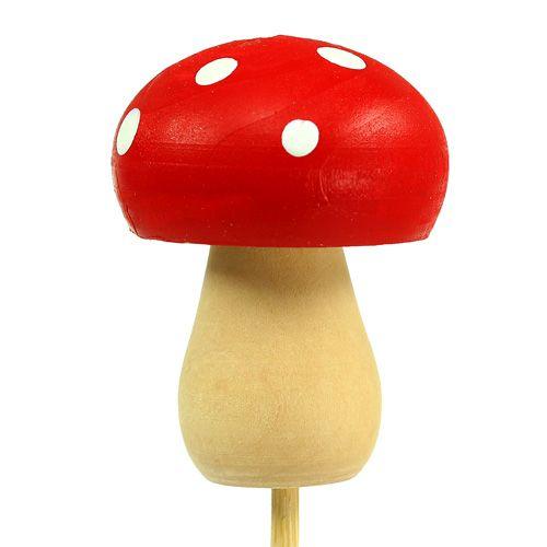 Dekorativ sopp paddestolplugg rød 3,5cm L30cm 12stk
