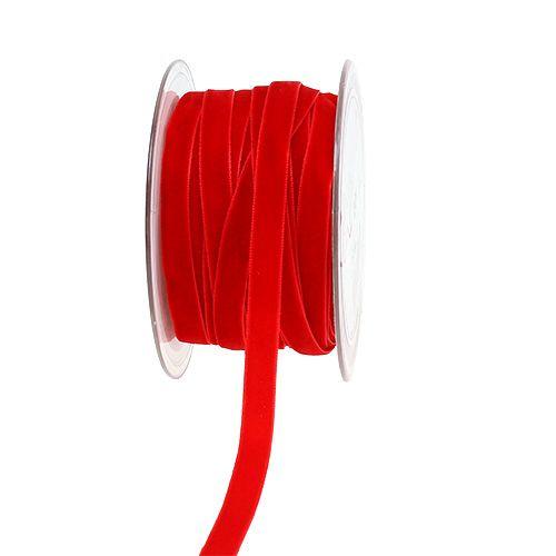 Dekorativt bånd Fløyel rød 10mm 20m