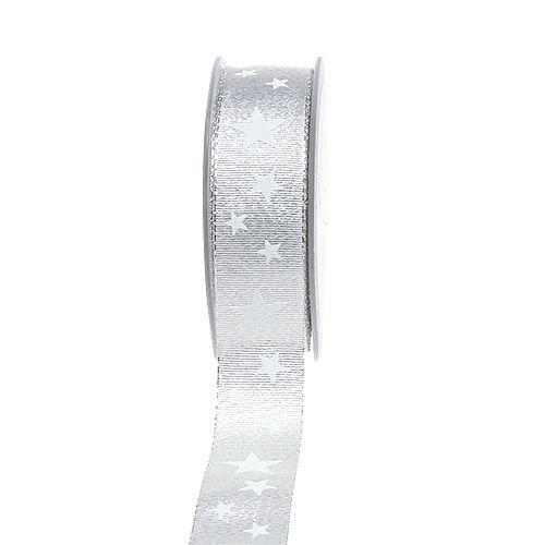 Deko bånd sølv med stjernemønster 25mm 20m